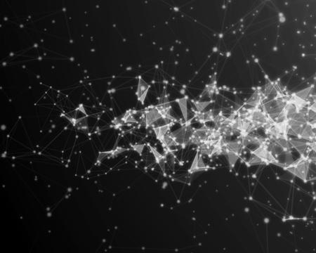 Fondo digital abstracto con las partículas cibernéticas azules. Foto de archivo - 75665769