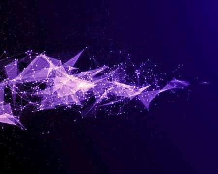 Abstract digital background with violet cybernetic particles.