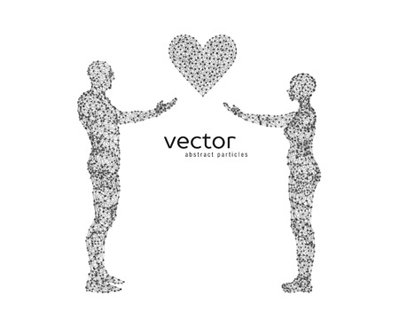 Abstract vector illustration of couple with heart. Illustration