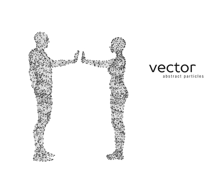 cyber woman: Abstract vector illustration of couple on white background.
