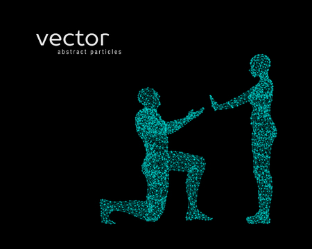 Vector illustration of couple. Offer of marriage.