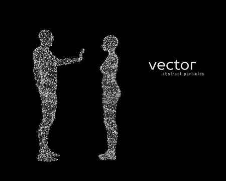 Ilustración de vector de pareja sobre fondo negro. Foto de archivo - 78021003