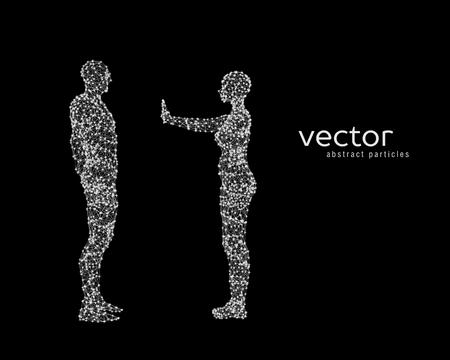 Vector illustration of couple on black background. Illustration