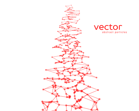 Vector futuristic background with red abstract particles. Çizim