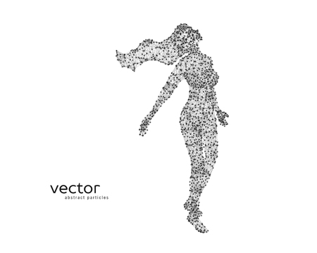 elves: Abstract vector illustration of flying beautiful woman.