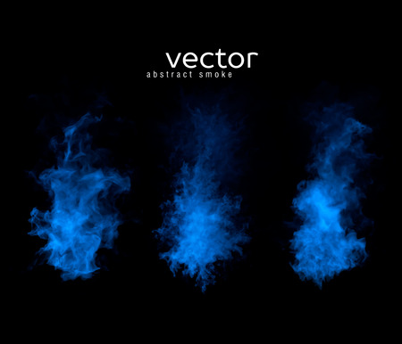 Vector abstract illustration of smoky shapes on black background.