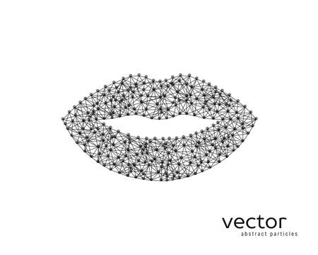 Resumen ilustración vectorial de labios sobre fondo blanco. Foto de archivo - 81126173