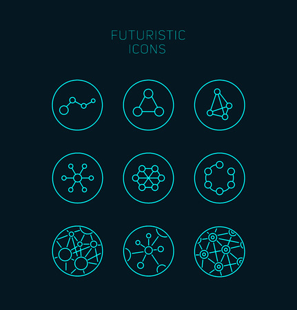 Collection of abstract vector futuristic icons. Use it as indicator elements in your design.