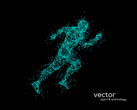 Abstract vector illustration of running man on black background.