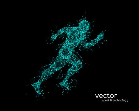 Abstract vector illustration of running man on black background.