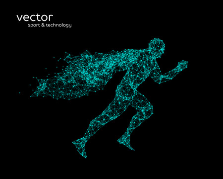 Abstract vector illustration of running man with a cape Illustration