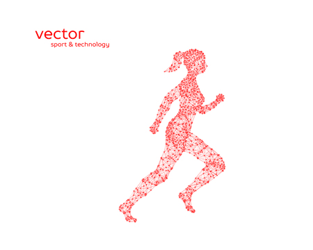 chaos: Abstract vector illustration of running woman on white background.