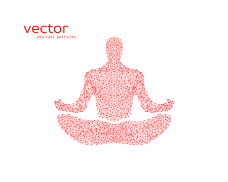 Abstract vector illustration of human in lotus pose.