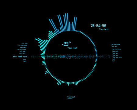 electronic background: Futuristic blue infographics as head-up display. Use it as template for your design.