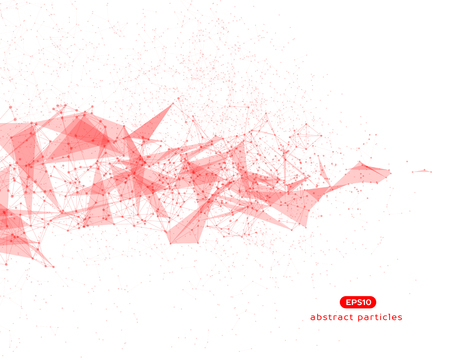 Abstract vector background with red cybernetic particles on white background.