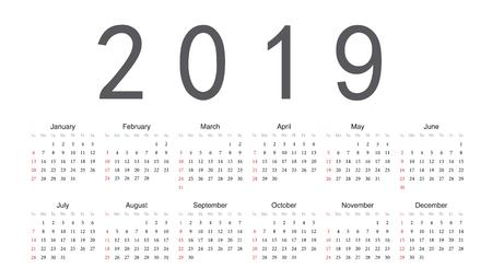Simple rectangular European 2019 year vector calendar. Week starts from Sunday.
