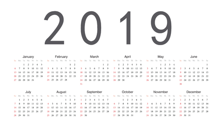 Simple rectangular European 2019 year vector calendar. Week starts from Sunday.