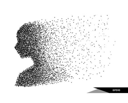 Ilustración de vector abstracto de busto humano en forma de puntos. Puedes cambiar de color fácilmente. Ilustración de vector