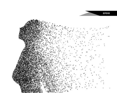 Ilustración vectorial abstracta de mujer mirando hacia arriba. Puedes cambiar de color fácilmente. Ilustración de vector