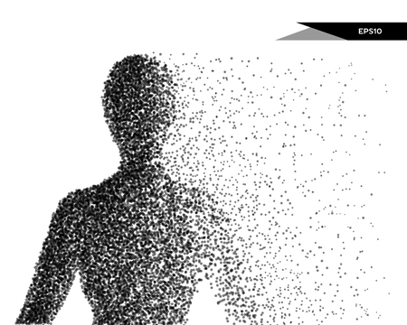 Abstract vector illustration of human bust in the form of dots. You can easily change color.