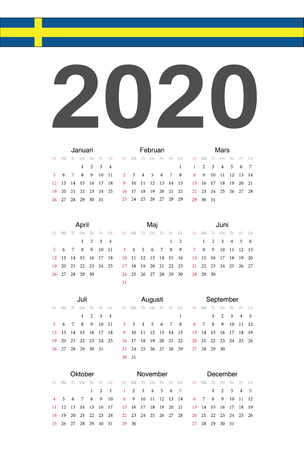 Simple Swedish 2020 year vector calendar. Week starts from Sunday.