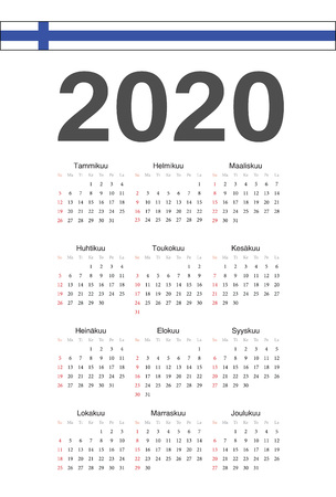 Simple Finnish 2020 year vector calendar. Week starts from Sunday.
