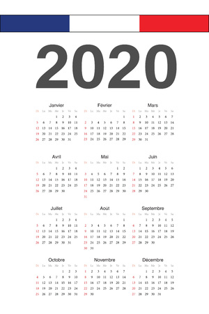 Simple French 2020 year vector calendar. Week starts from Sunday.