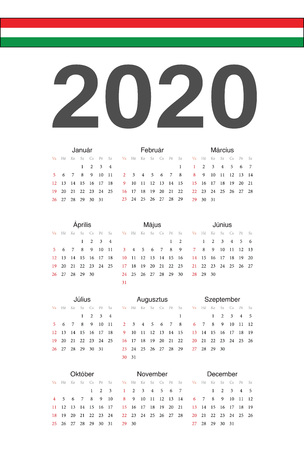 Simple Hungarian 2020 year vector calendar. Week starts from Sunday.