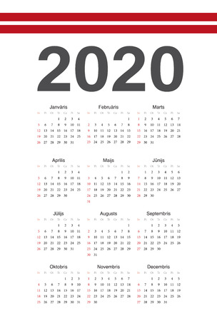 Simple Latvian 2020 year vector calendar. Week starts from Sunday.