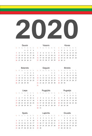 Simple Lithuanian 2020 year vector calendar. Week starts from Sunday.