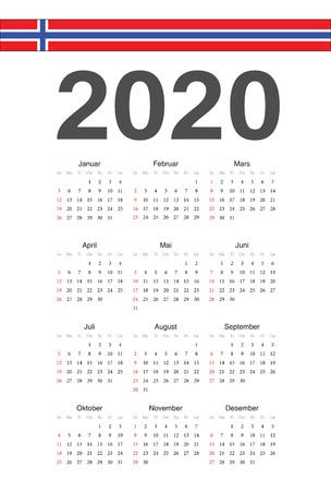 Simple Norwegian 2020 year vector calendar. Week starts from Sunday. Vettoriali