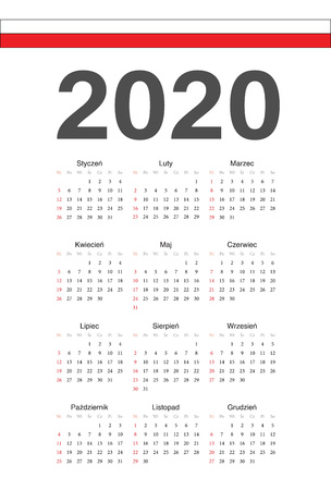 Simple Polish 2020 year vector calendar. Week starts from Sunday.