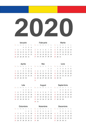 Simple Romanian 2020 year vector calendar. Week starts from Sunday.
