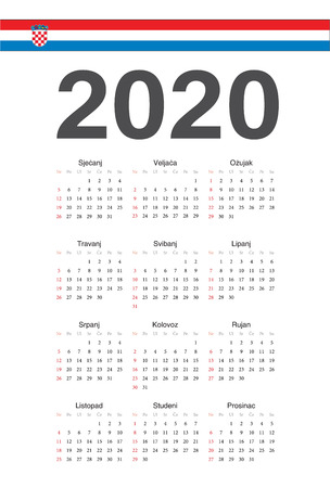 Simple Croatian 2020 year vector calendar. Week starts from Sunday.