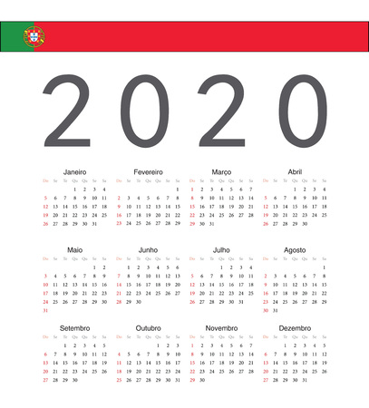 Square Portuguese 2020 year vector calendar. Week starts from Sunday.