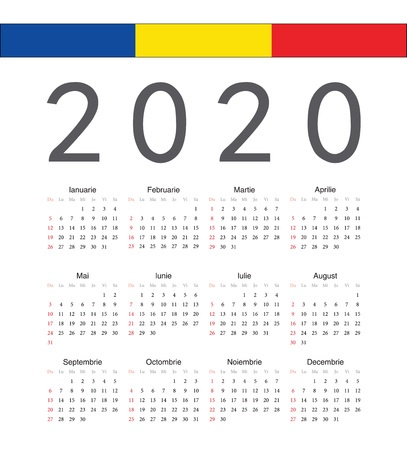 Square Romanian 2020 year vector calendar. Week starts from Sunday. 矢量图像