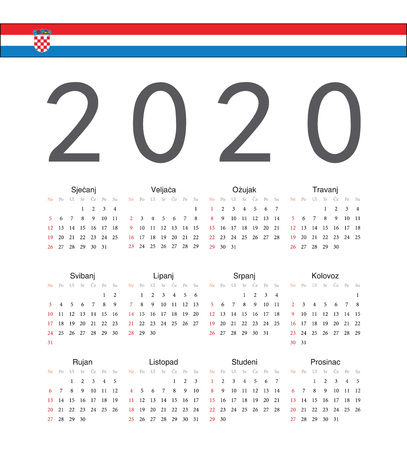 Square Croatian 2020 year vector calendar. Week starts from Sunday.