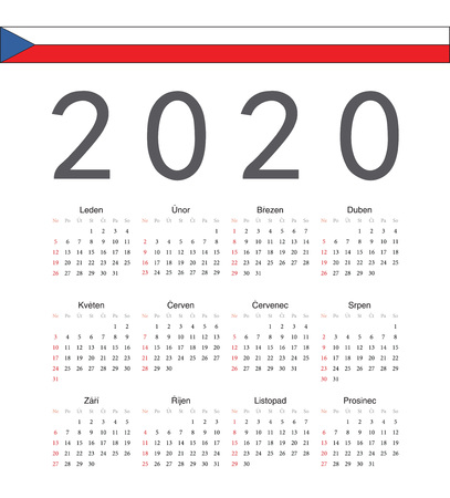 Square Czech 2020 year vector calendar. Week starts from Sunday.