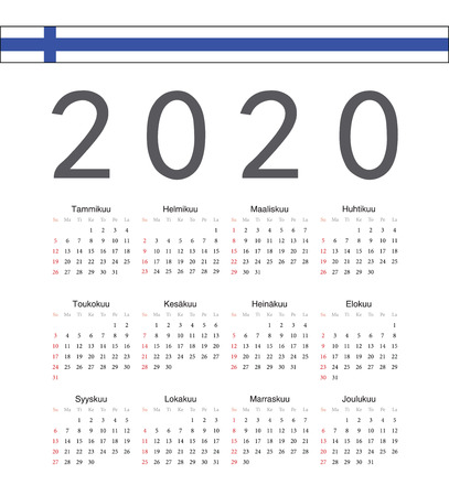 Square black Finnish 2020 year vector calendar. Week starts from Sunday.