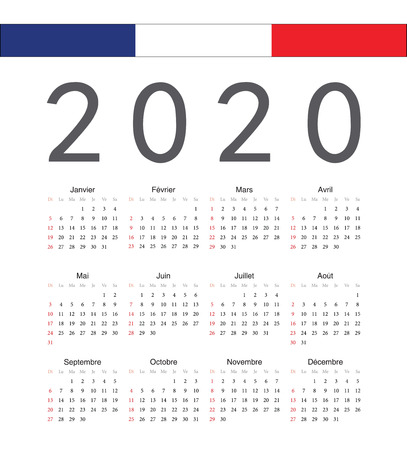 Square french 2020 year vector calendar. Week starts from Sunday. Ilustração