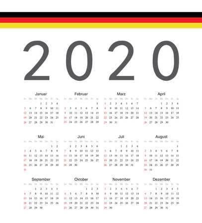 Square german 2020 year vector calendar. Week starts from Sunday.