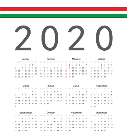 Square Hungarian 2020 year vector calendar. Week starts from Sunday.