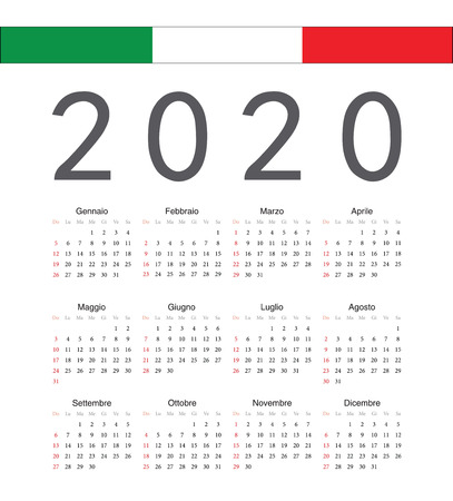 Square italian 2020 year vector calendar. Week starts from Sunday. Illustration