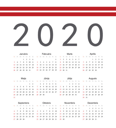 Square Latvian 2020 year vector calendar. Week starts from Sunday.