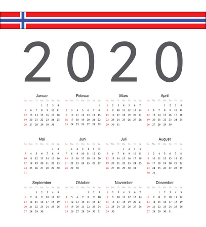 Square Norwegian 2020 year vector calendar. Week starts from Sunday.
