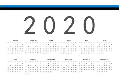 Simple rectangular Estonian 2020 year vector calendar. Week starts from Sunday.