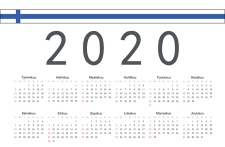 Simple rectangular Finnish 2020 year vector calendar. Week starts from Sunday.