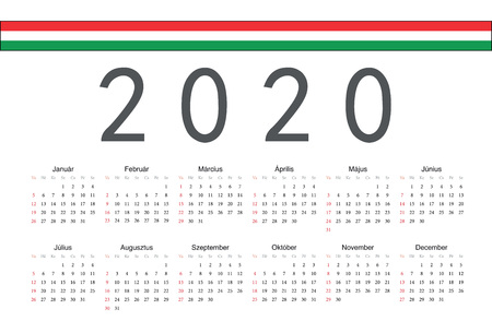 Simple rectangular Hungarian 2020 year vector calendar. Week starts from Sunday.