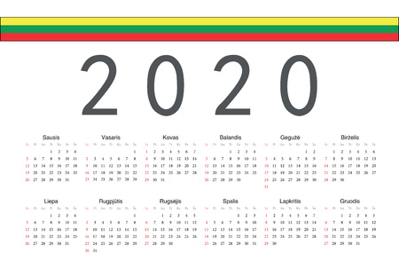 Simple rectangular Lithuanian 2020 year vector calendar. Week starts from Sunday.