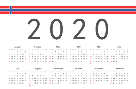 Simple rectangular Norwegian 2020 year vector calendar. Week starts from Sunday. Ilustrace